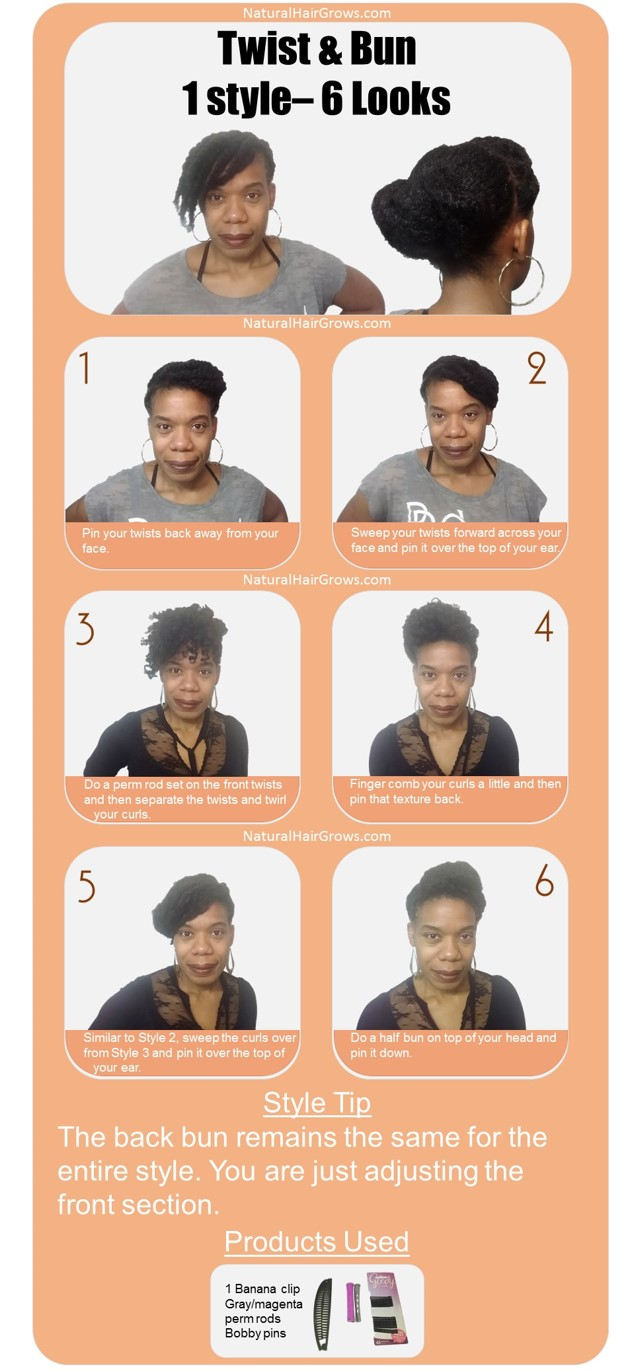 One Natural Hair Style with Six Styling Options